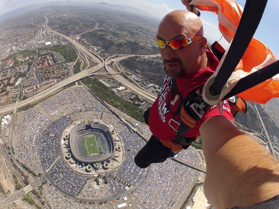 Parachuting Into Qualcomm Selfie