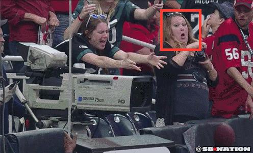 Eagles-Texans Camera Woman Face