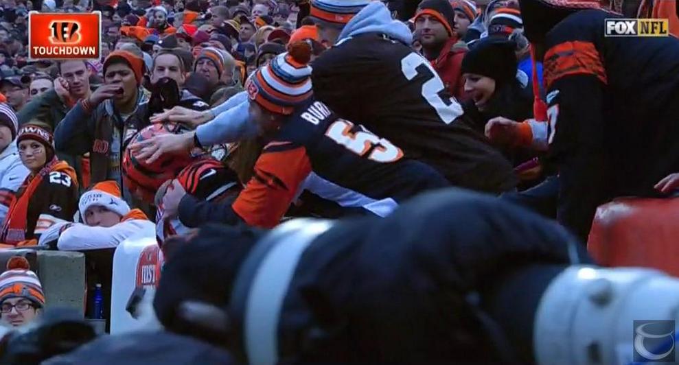 Browns fan head push